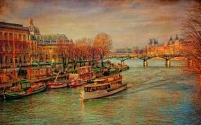 Обои холст, корабль, мост, Сена, Франция, Париж, деревья, осень, дворец, река