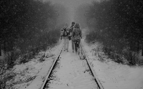 Картинка winter, snow, rails, tie, trio, railroad, winter railroad, the snow, the people moving by rail, ...