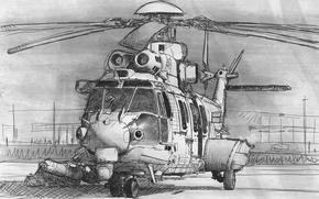 Картинка авиация, рисунок, вертолет, лопасти