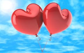 Картинка любовь, воздушные шары, сердечки, love, happy, sky, heart, romance, balloons