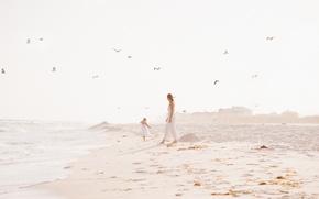 Картинка песок, пляж, девушка, девочка