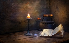 Картинка свеча, очки, книга, крестик, утюг, Seclusion