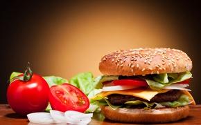 Обои помидоры, овощи, булка, огурцы, кунжут, сыр, фаст фуд, fast food, гамбургер, котлета, лук