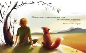 Обои мальчик, лис, le petit prince, маленький принц, экзюпери