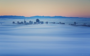 Картинка туман, рассвет, здания, утро, Калифорния, верхушки, Саусалито