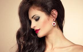 Картинка девушка, лицо, ресницы, волосы, макияж, помада, тени, красивая