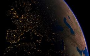 Обои планета, орбита, Европа, Электричество