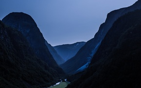 Картинка landscape, nature, night, mountains, view, mountain, waterfall, valley, Norway, dim, Nærøydalen, highs, heights