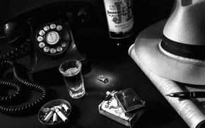 Картинка ретро, бутылка, шляпа, зажигалка, ручка, алкоголь, телефон, стопка, нуар, пепельница, винтаж, сигареты, окурки
