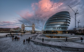 Картинка англия, лондон, london, clouds, england, Tower Bridge, River Thames