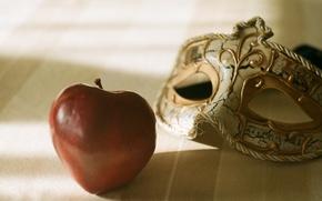 Картинка красное, яблоко, маска