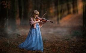 Картинка лес, скрипка, девочка