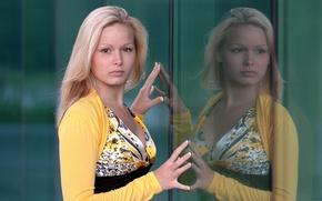 Картинка Yellow, Reflection, Yessica, Hands on glass