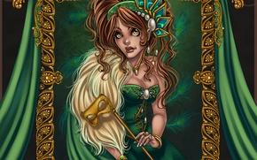 Картинка глаза, взгляд, девушка, украшения, лицо, волосы, портрет, серьги, рамка, руки, платье, маска, арт, губы, жемчуг, …