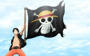 Картинка skull, gun, pistol, logo, game, One Piece, sky, pirate, weapon, anime, boy, flag, captain, asian, …
