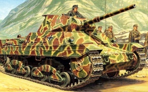 Картинка рисунок, танк, Panzerkampfwagen P40 737(i), Carro Armato Pesante P26/40