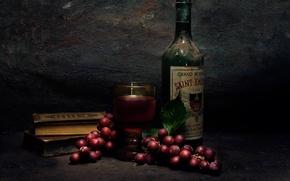 Картинка виноград, бутылка, книги, вино, Still life