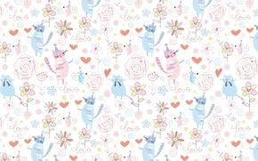 Картинка фон, сердце, котик, текстура, мышка, арт, детская