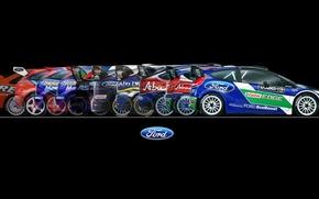Картинка Ford, Авто, Спорт, Машина, Форд, Фон, WRC, Rally, Ралли, Вид сбоку, 50 лет