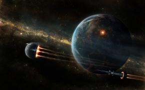 Обои корабль, ракета, звезды, Планета