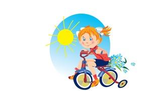 Картинка лето, солнце, велосипед, настроение, арт, девочка, прогулка, детская