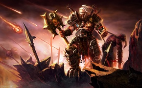 Обои Diablo 3, Mighty Barbarian, Mighty Warrior, Minion, Art, Dead Demon, Weapons, Blizzard Entertainment, Demon, Axe, ...