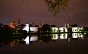 Картинка ночь, Москва, религия, монастырь, Новодевичий монастырь