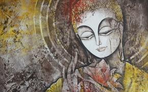 Картинка глаза, фон, женщина, картина, живопись, Инди