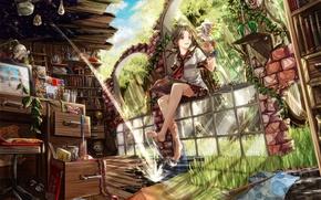 Обои небо, стекло, вода, девушка, облака, деревья, природа, стол, лампы, птица, книги, растения, аниме, арт, стул, ...