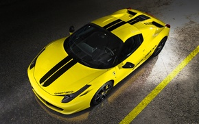 Картинка Феррари, Италия, Ferrari, Перед, Yellow, Spider, 458 Italia, Capristo, Вид Сверху, Жёлтая
