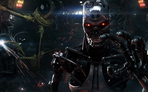 Картинка металл, сталь, завод, робот, рука, киборг, Terminator, Терминатор, T-800, skynet, скайнет