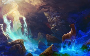 Картинка камни, магия, дракон, дух, олень, пещера