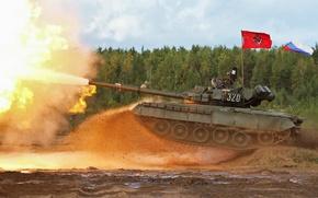 Картинка Россия, выстрел, ОБТ, танк, Т-80 БВ, военная техника