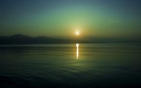 Картинка море, солнце, закат, горы