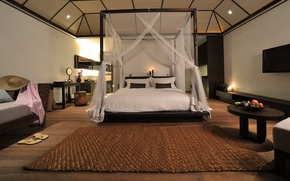 Картинка дизайн, стол, комната, ковер, кровать, интерьер, шляпа, подушки, фрукты, design, спальня, interior, fruits, bedroom, сланцы