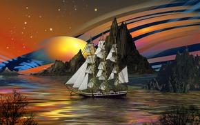 Картинка море, небо, вода, деревья, скалы, корабль, планета, звёзды, sailors dream, парусв