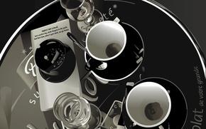 Картинка стол, вектор, чашки