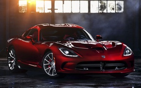 Картинка солнце, красный, окно, Додж, Dodge, суперкар, Viper, передок, GTS, Вайпер, SRT
