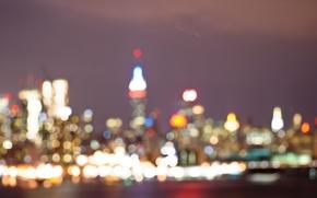 Картинка ночь, огни, Нью-Йорк, боке, Эмпайр Стейт Билдинг