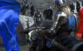 Картинка оружие, лошадь, флаг, Рыцарь, доспех