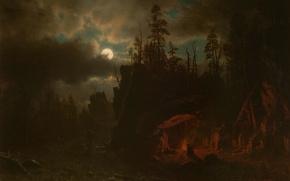 Обои пейзаж, ночь, картина, Луна, Альберт Бирштадт, Лагерь Охотников