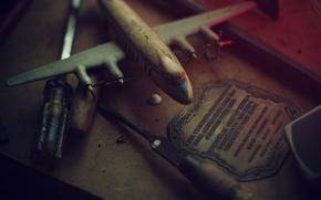 Обои ретро, wallpapers, мастерская, свет, самолет, инструменты, цвет, разное, дерево, фото, модель