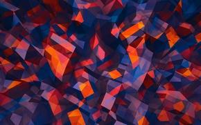 Картинка линии, оранжевый, синий, красный, серый, треугольники, формы, угол, грани, геометрия, полигоны, сочетания, многоугольники