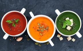 Картинка суп, тыква, семечки, томат, шпинат