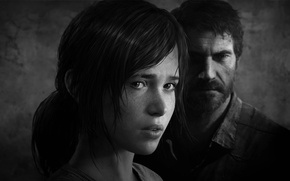 Картинка черно-белое, Элли, game, Джоэл, The Last Of Us