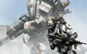 Обои Titanfall, Respawn Entertainment, battlefield, tree, assault rifle, combat, weapon, gun, sky, war, fight, armour, man, ...