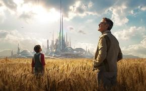 Картинка пшеница, поле, облака, город, фантастика, колосья, лучи солнца, Джордж Клуни, George Clooney, Tomorrowland, параллельный мир, ...