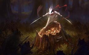 Обои оружие, арт, пень, орехи, меч, wildweasel339, шарф, звери, защита, лес, барсук