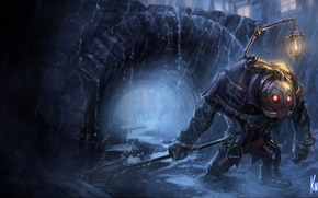 Картинка ночь, дождь, маска, фонарь, лужи, League of Legends, Undertaker Yorick