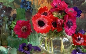 Обои ваза, натюрморт, стекло, цветы